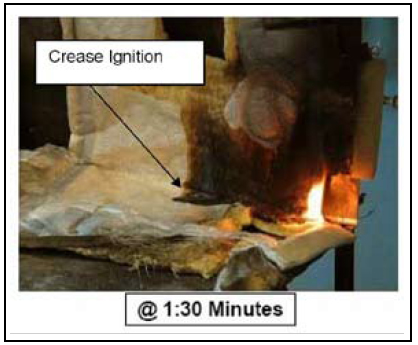 "Cotton swab test of Mylar insulation blanket. As the AAIB report noted: ""The longest burn time of any sample was just over 7 minutes ... The burn areas from the cotton swab test were small compared to the extensive burn damage observed in the actual event, but in the actual event the insulation blankets were exposed to multiple molten metal droplets."" The test, it seems, is designed to yield ""good news"" results that will not necessarily be replicated in real world conditions."