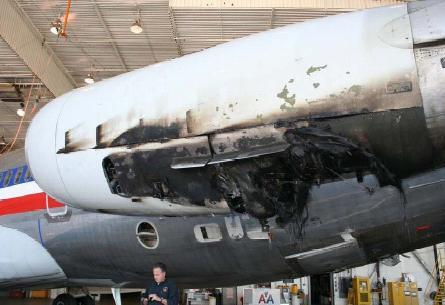 Evidence of the engine fire that prompted the pilots to return to the field for landing.