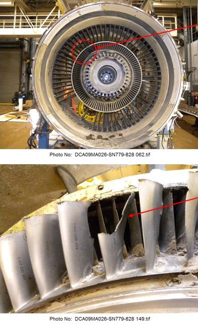 Top: damage to inlet guide vanes. Bottom: fractured compressor blades.