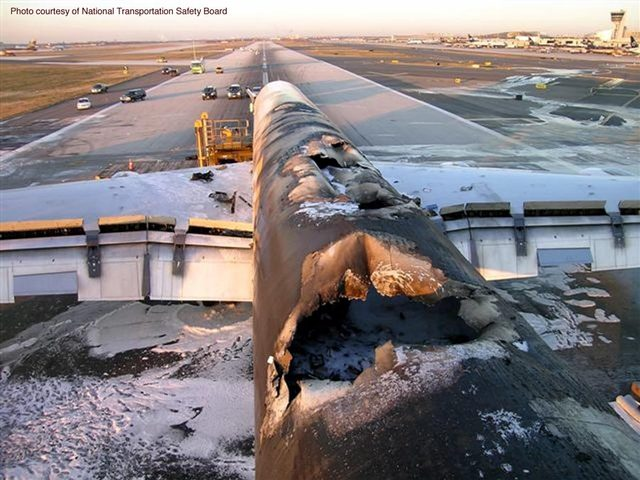 The charred remains of the UPS DC-8 freighter.