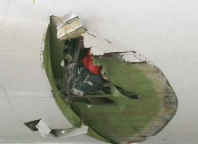 External damage sustained by the aircraft.