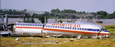 Little Rock, Arkansas, 1999 -- roaring off the end of a wet runway and stopping just short of the Arkansas River.