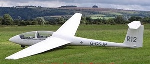 A Schleicher ASK21 two-seat glider of the type down by lightning. The lightning penetrated the glass reinforced plastic (GRP) composite structure.