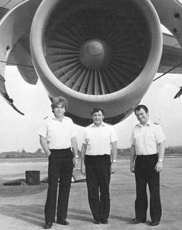 On the left, F.O. Greaves. Middle, Capt. Moody. Right, Flt. Engr. TownleyFreeman.