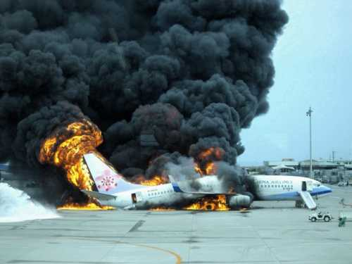 China Airlines B737 on fire, 2007.