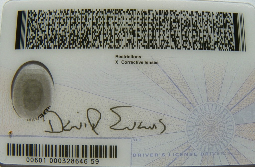 Rear of VA driver's license.