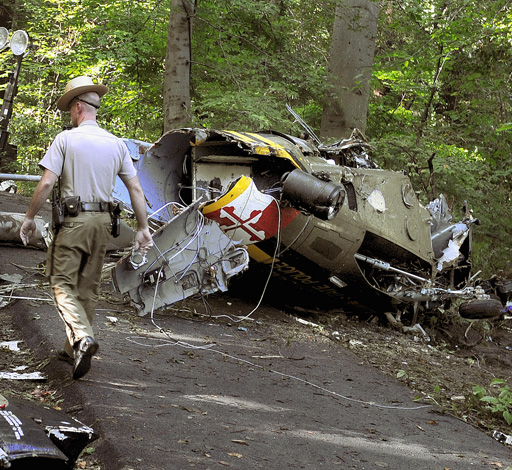 The scene of the Maryland State Police crash.
