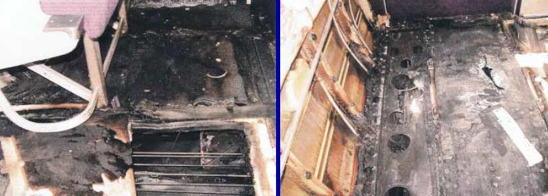 November 2000: cabin damage from fire on an AirTran DC9