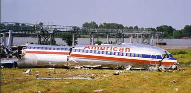 The aftermath of an overrun in 1999 at Little Rock, involving American Airlines flight 1420 and landing on a wet runway.